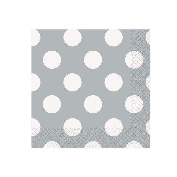 Servietten Punkte, silber/weiß, 33cm, 16 Stück
