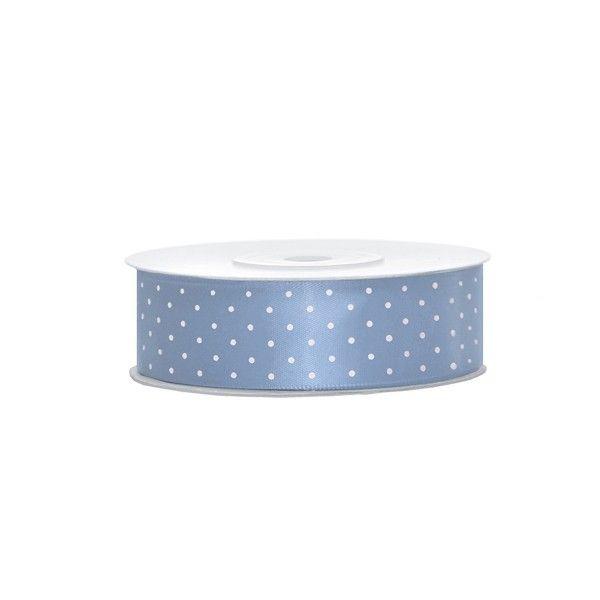 Satinband blau mit weißen Punkten, 1 Rolle