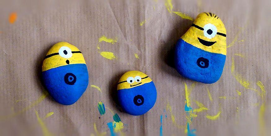 Bastelidee für die Minionparty: aus Steinen kleine Minions machen! Einfach süß.