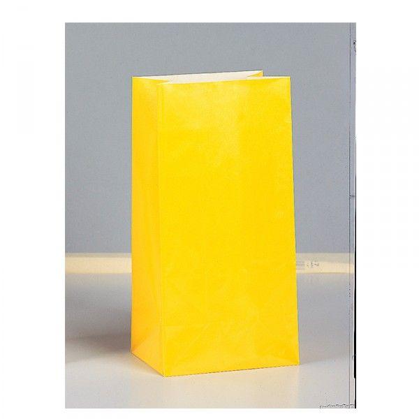 Partytüten aus Papier gelb, 12 Stück