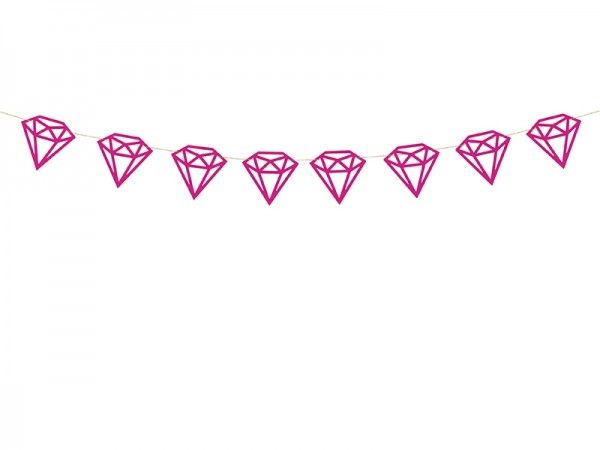 Girlande Diamanten, Pink, 1 m