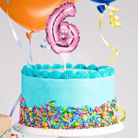 Kuchenpicker Folienballon Zahl 6 in Pink, 22 cm klein, selbstaufblasend, 1 Stück