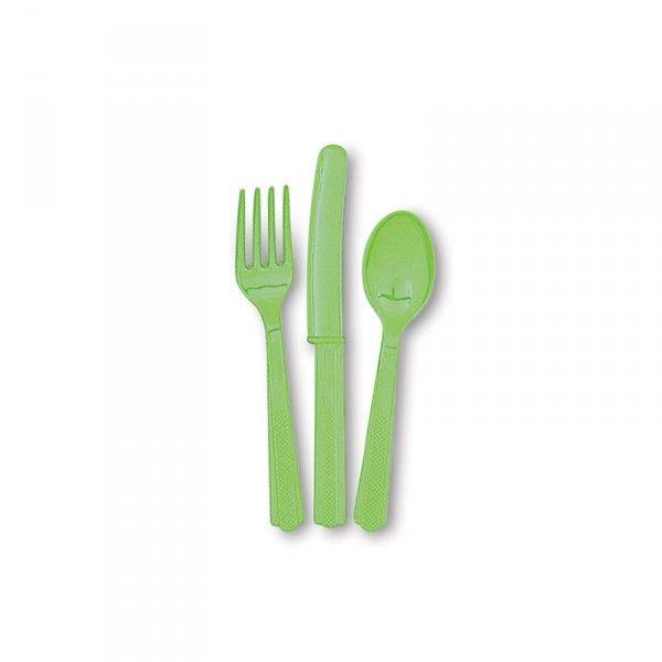 Besteck, grün, 18-teilig