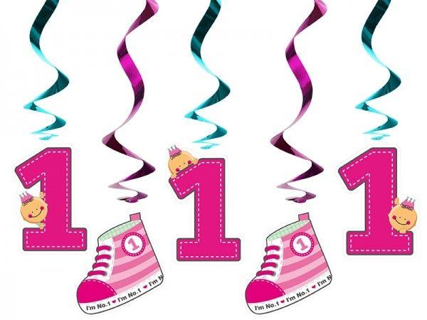 Hängedekoration 1. Geburtstag, pink, 5 Stück