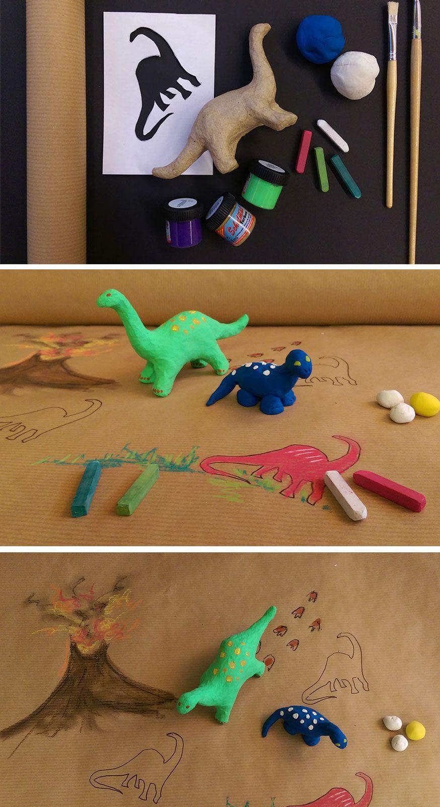 Am Basteltisch können die Kinder ihre eigenen Dinos zeichnen und kneten.