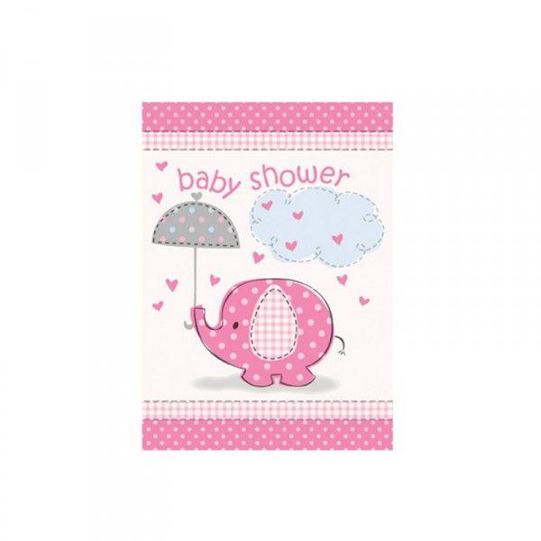 Einladung Baby rosa, 8 St