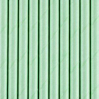 Strohhalme aus Papier, Pastell-Grün, 10 Stück