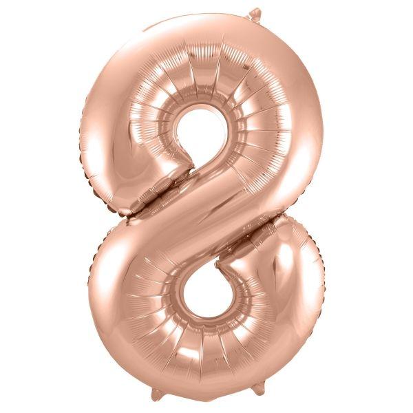 XL Folienballon Zahl 8 in Rose-Gold, 86 cm, 1 Stück, Helium Ballon (unbefüllt)