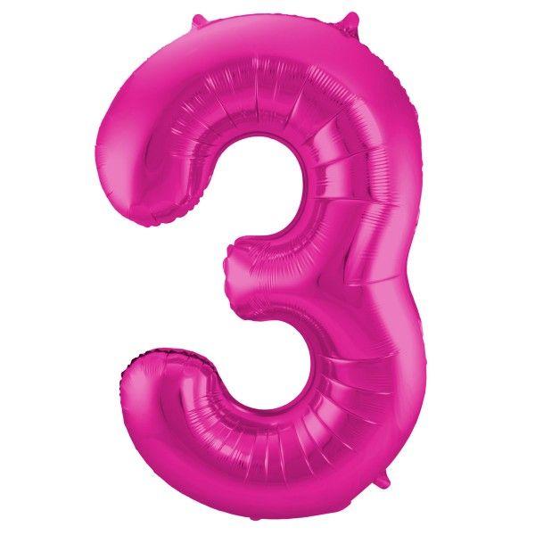 XL Folienballon Zahl 3 in Magenta, 86 cm, 1 Stück, Helium Ballon (unbefüllt)