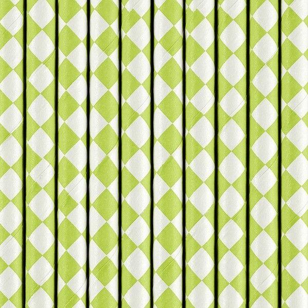 Strohhalme aus Papier, grün-weiß, 10 Stück