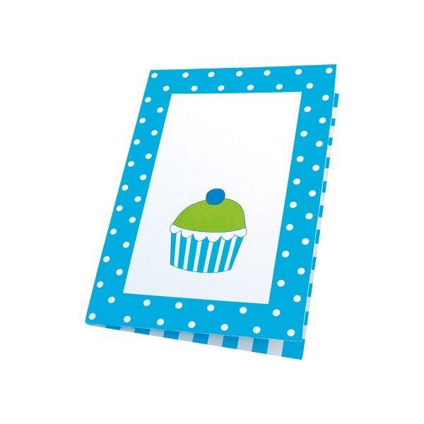 Einladungskarten mit Punkten, blau, 8 St