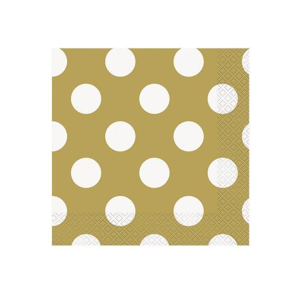 Servietten Punkte, gold/weiß, 33 cm, 16 Stück