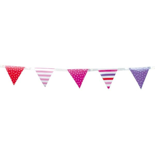 Mini Wimpelkette, pink, 3m