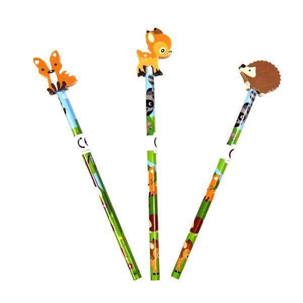 Bleistift mit Radierer Waldtiere, verschiedene Ausführungen, 1 Stück X X