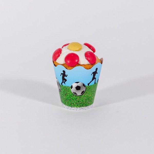 Deko-Banderolen für Muffins und Cupcakes Fussball, 12 Stück