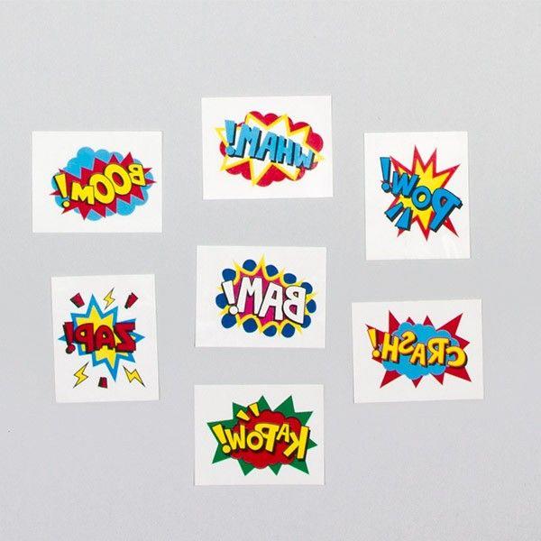 Tattoos Superhelden, 24 Stück