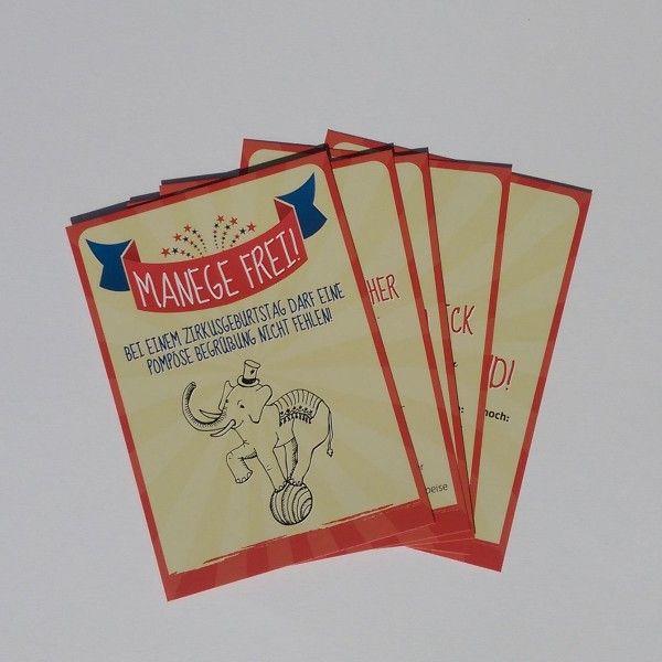 Mottokarten Zirkus, 5 Stück