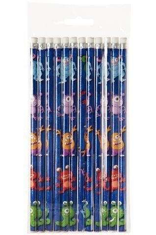 Bleistifte Monster mit Radiergummi, 12 Stück