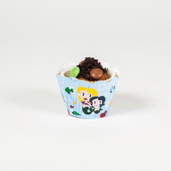 Deko Banderolen fuer Muffins und Cupcakes im Meerjungfrau