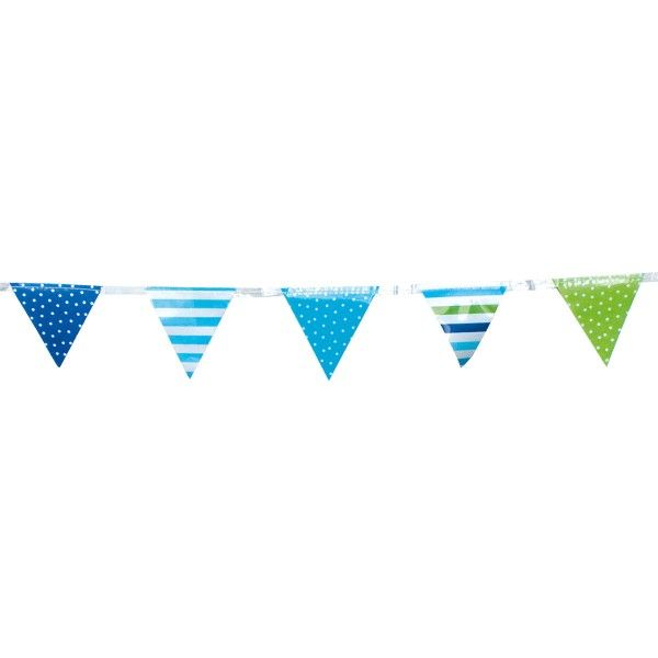 Mini Wimpelkette, blau, 3m