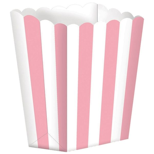 Popcorntüten, rosa/ weiß, 5 Stück