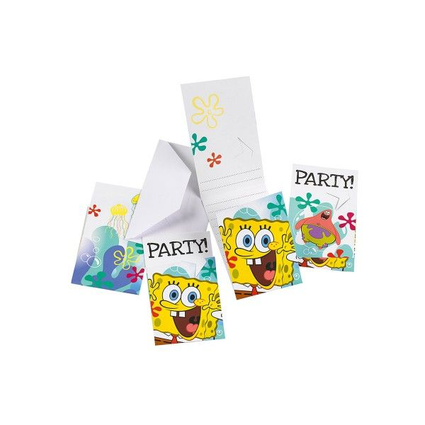 Einladungskarten SpongeBob, 6 Stück