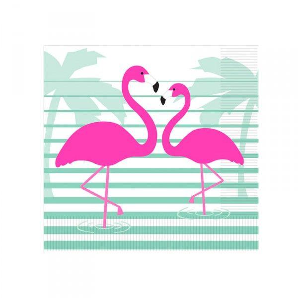 Servietten Flamingo, 33cm, 20 Stück