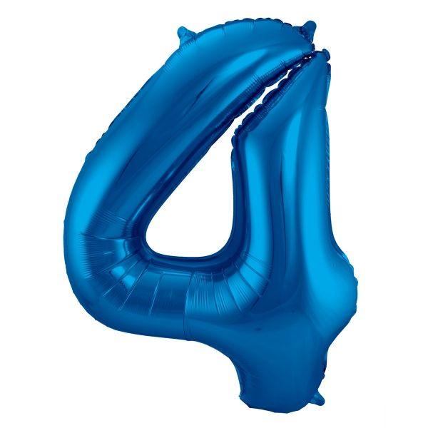 XL Folienballon Zahl 4 in Blau, 86 cm, 1 Stück, Helium Ballon (unbefüllt)