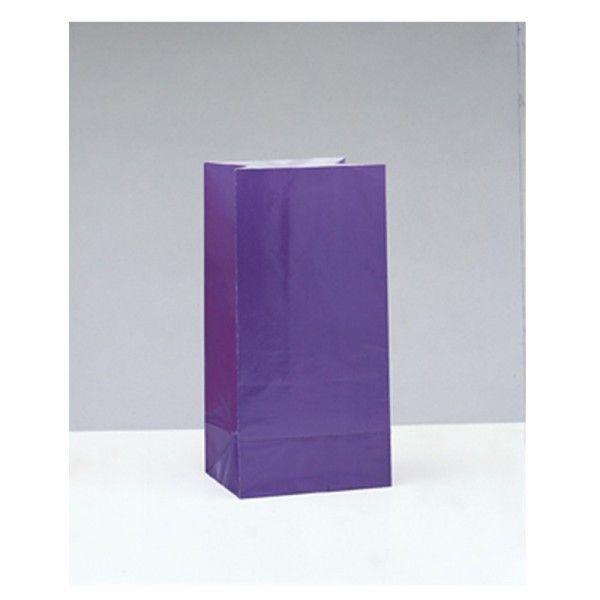 Partytüten aus Papier purple/lila, 12 Stück