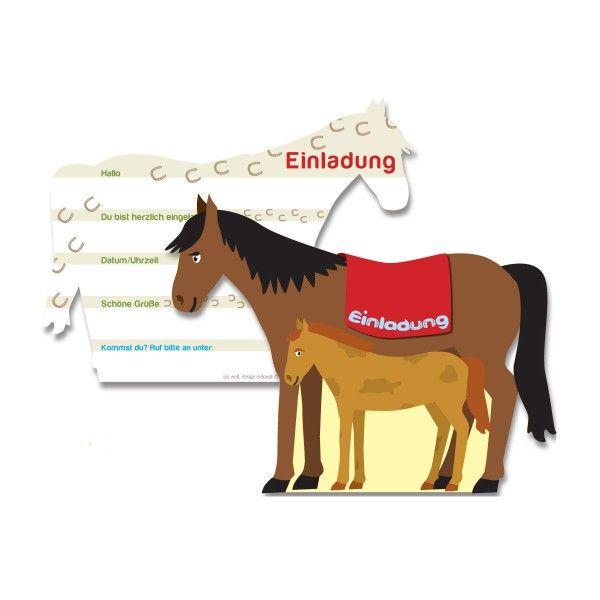Einladungskarten Pferd, 6 Stück