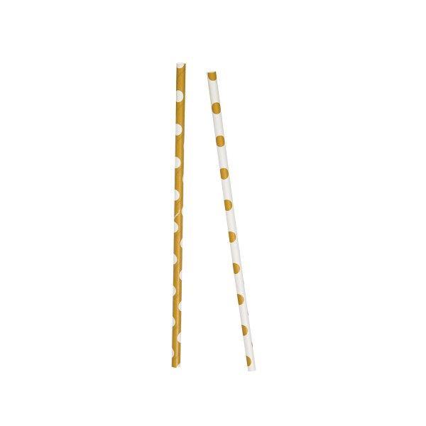T1141979-Strohhalme-Punkte-gold-weiss-10-Stueck