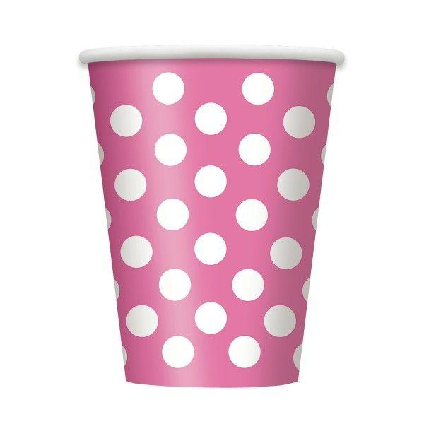 Pappecher Punkte, pink, 8 St
