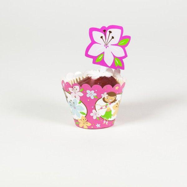 Deko Banderolen mit Pickern fuer Muffins und Cupcakes Hawaii