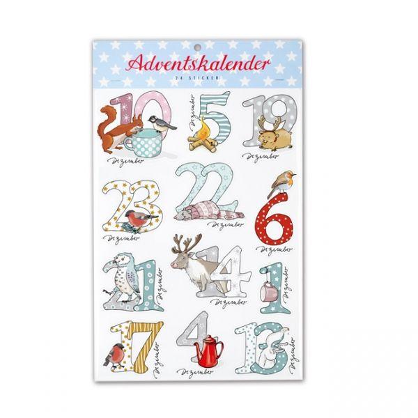 Sticker Adventskalender, 24 Stück Schneetiere
