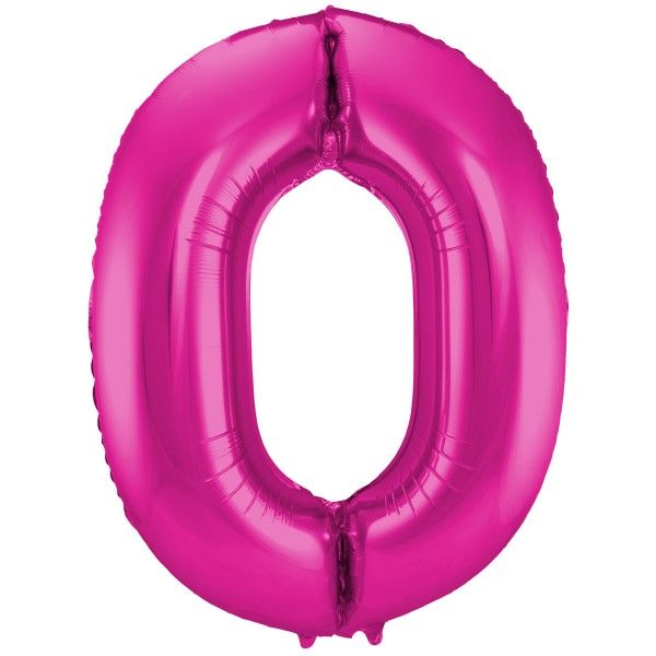 XL Folienballon Zahl 0 in Magenta, 86 cm, 1 Stück, Helium Ballon (unbefüllt)