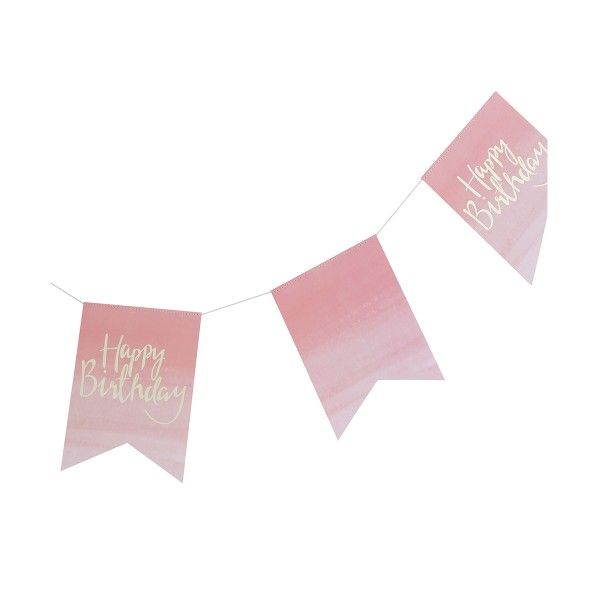 "Girlande ""Happy Birthday"" rosa/gold, 3m"