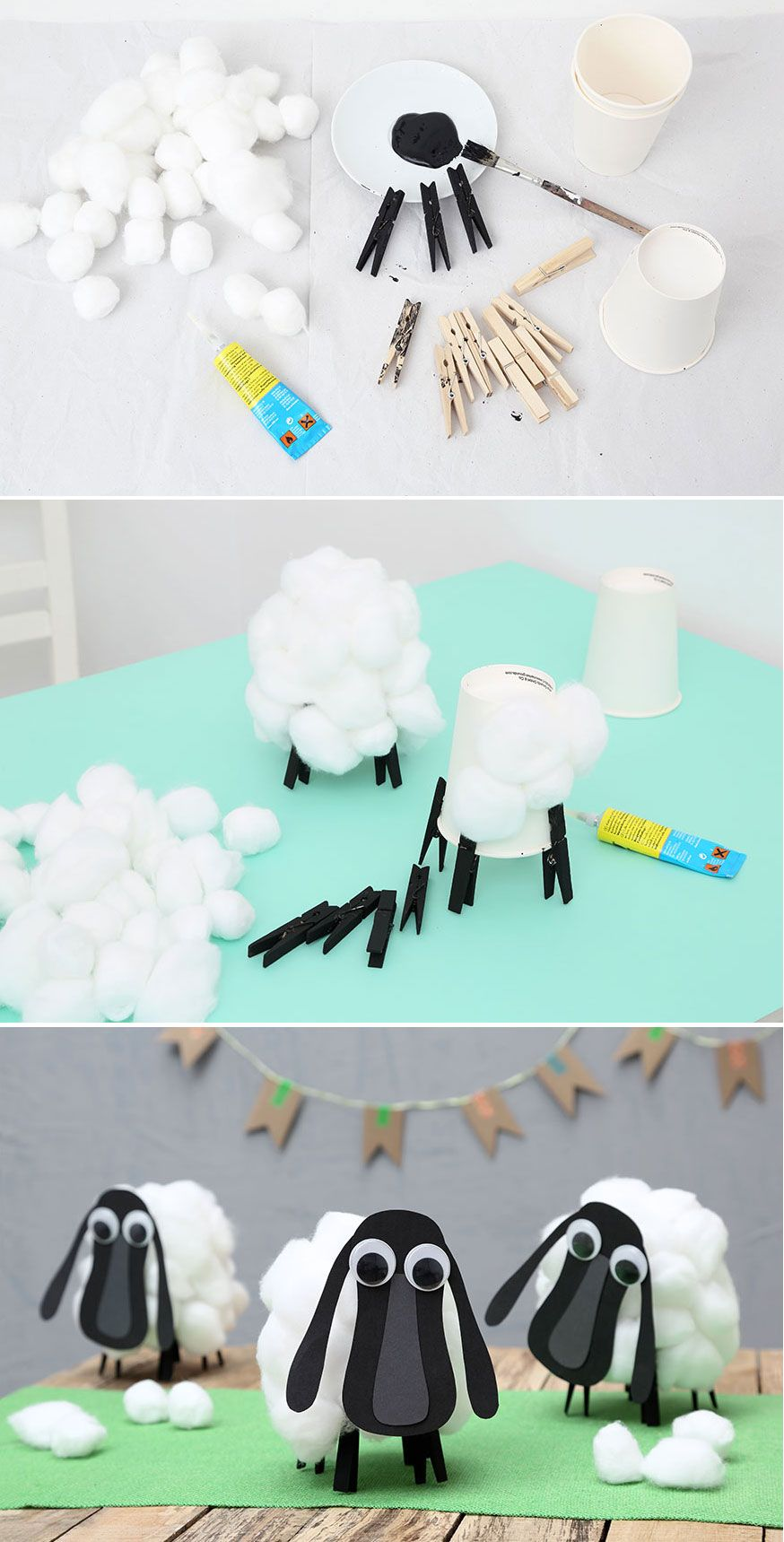 Step by Step zu den lustigen Schafen von Berk. Eine witzige Tischdeko auf dem Drachenzähmen Geburtstag. • Umsetzung & Foto: Thordis Rüggeberg