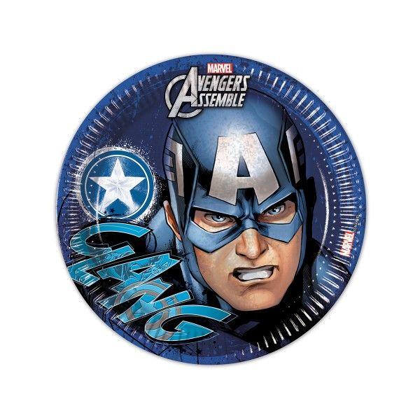 T1142330-Pappteller-Avengers-Teen-Captain-America-23cm-8-Stueck