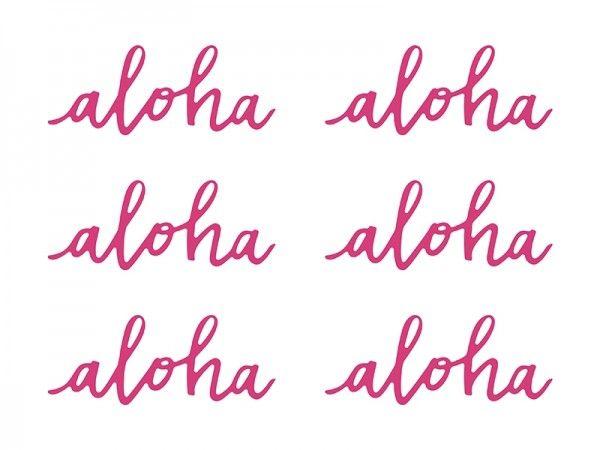Tischdekoration aus Papier, Hawaii Aloha-Schriftzug, 6 Stück