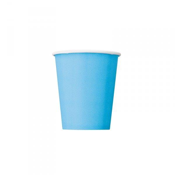 Pappbecher Hellblau, 8 Stück