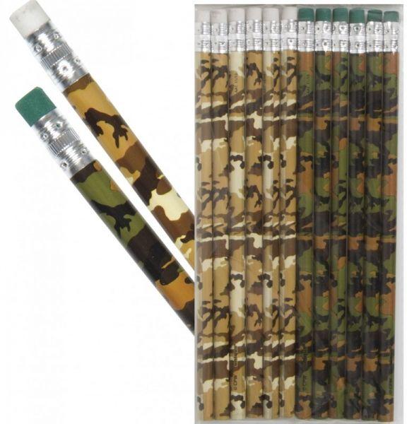 Bleistift Camouflage mit Radiergummi, 12 Stück