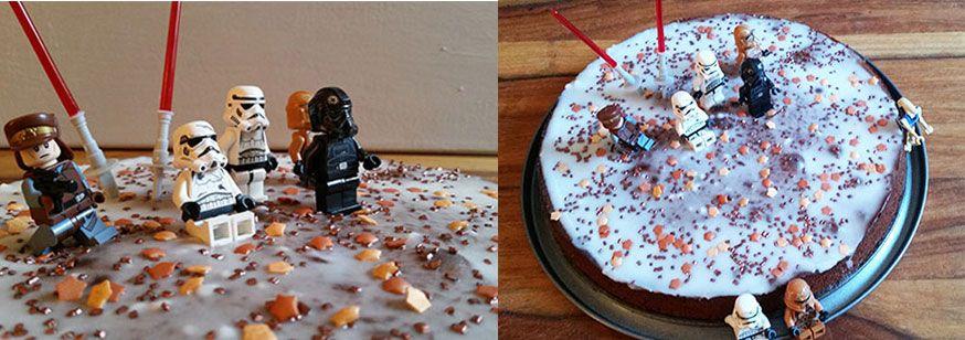 3. Zutat: LEGO Star Wars Figuren. Diese einfach auf dem Kuchen und drum herum verteilen.