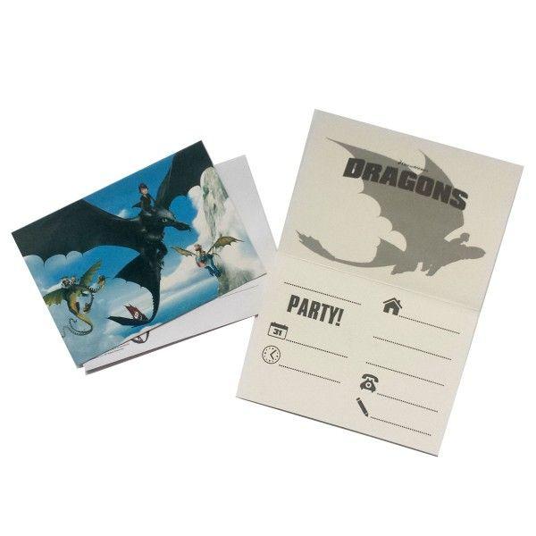 Einladungskarten Drachenzähmen leicht gemacht, 8 Stück