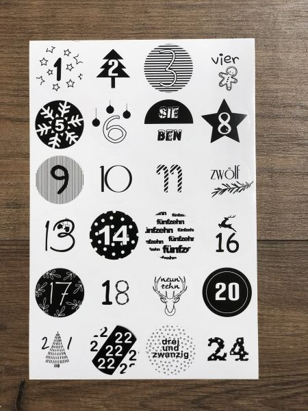 Adventssticker Sticker Adventskalender, 24 Stück