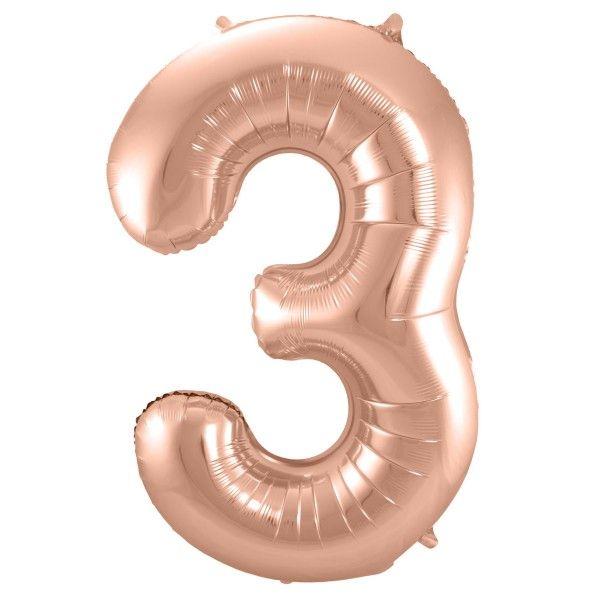 XL Folienballon Zahl 3 in Rose-Gold, 86 cm, 1 Stück, Helium Ballon (unbefüllt)