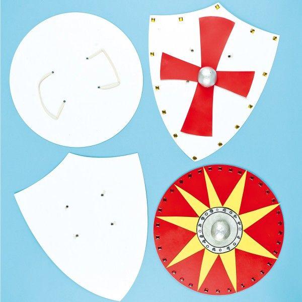 Blanko-Ritterschild zum Selbstgestalten, 4 Stück