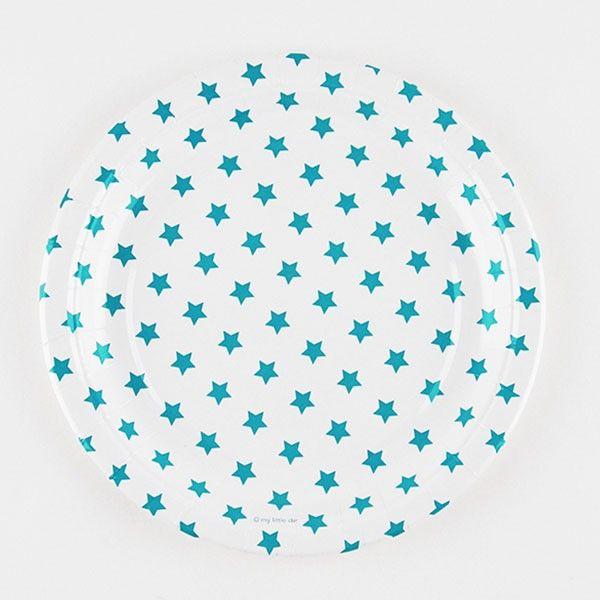 Pappteller-Sterne-blau-23cm-8-Stueck-neu