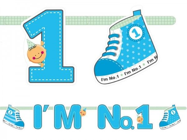Banner 1. Geburtstag & Geburt, blau
