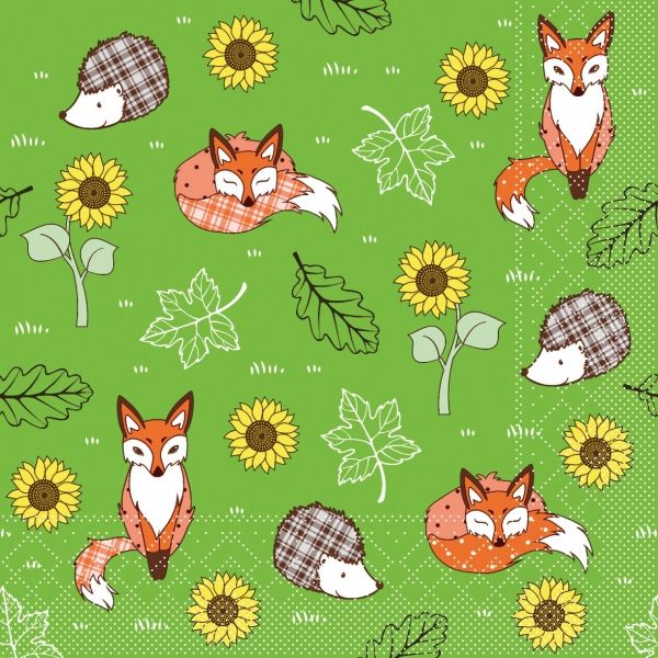 Serviette Fuchs, grün, 20 Stück