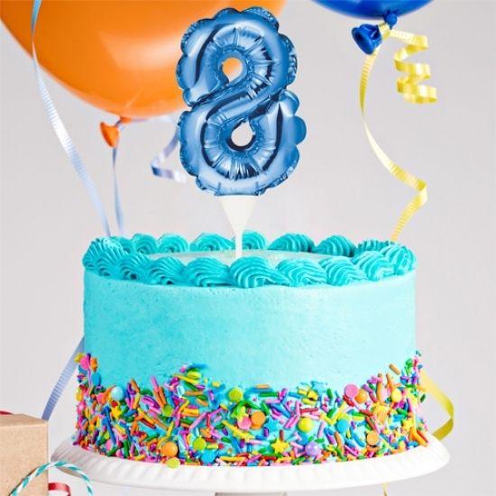 Kuchenpicker Folienballon Zahl 8 in Blau, 22 cm klein, selbstaufblasend, 1 Stück